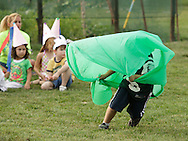Middletown, New York - A child from the Middletown YMCA summer camp performs during a talent show for parents and other campers on August 17, 2010.