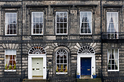 Elegant Georgian facade of historic buildings in New Town area of Edinburgh Scotland