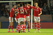 GOAL Kieffer Moore celebrates his second goal 0-3 during the EFL Sky Bet League 1 match between Rochdale and Barnsley at Spotland, Rochdale, England on 21 August 2018.