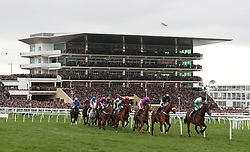 Penhill ridden by jockey Pete Townend (far left) on the way to winning the Albert Bartlett Novices' Hurdle during Gold Cup Day of the 2017 Cheltenham Festival at Cheltenham Racecourse.