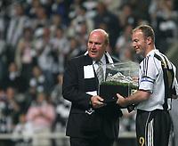 Photo: Andrew Unwin.<br /> Newcastle United v Glasgow Celtic. Alan Shearer Testimonial. 11/05/2006.<br /> Newcastle's chairman, Freddy Shepherd (L), and Alan Shearer (R).