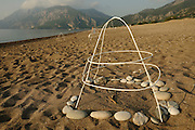 At Cirali Beach the nests of the Loggerhead Sea Turtles (Caretta caretta) are caged by volunteers which guard the beach at night. Leaflets inform tourists and local people not to disturb or destroy the nests by digging or setting up sun umbrellas. | Unechte Karettschildkröte (Caretta caretta)