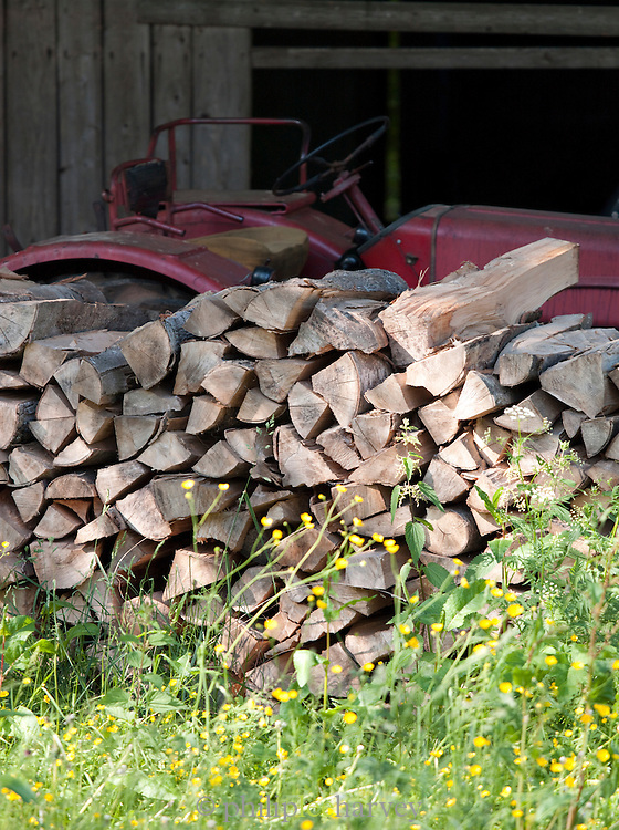 A woodpile at a farm in the Jura region of France