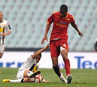 "Alexi Sanchez Udinese e Ricardo Fathy Roma<br /> Udine, 21/04/2010 Stadio ""Friuli""<br /> Udinese-Roma.<br /> Coppa Italia 2009/2010<br /> Foto Nicolo' Zangirolami Insidefoto"