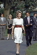 First Lady Nancy Reagan arrives at the Boston Pops 100th Birthday Celebration on the South Lawn of the White House in May 1985.  This was at a time when President Reagan at recovering at Bethesda Naval Hospital ..Photo by Dennis Brack BSB 18