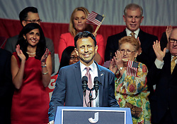 24 June 2015. Kenner, Louisiana.<br /> Louisiana Governor Bobby Jindal announces his run for President of the United States during a political event at the Pontchartrain Center in Kenner, La.<br /> Photo©; Charlie Varley/varleypix.com