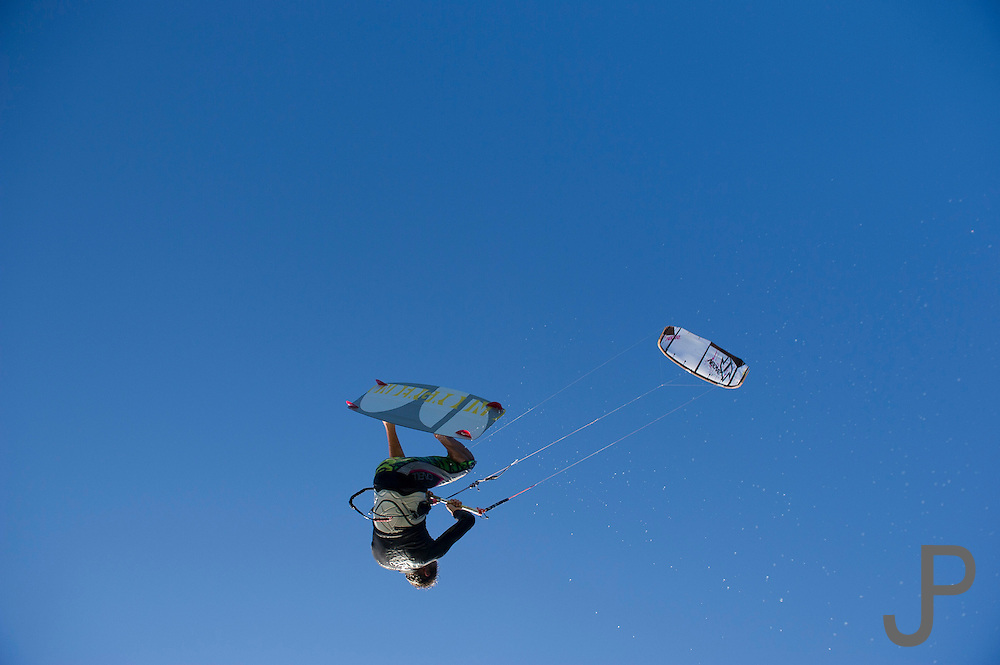 Fernando Gomez kiteboarding at Hood River, Oregon