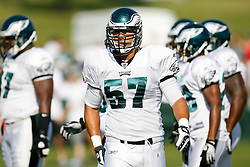 Philadelphia Eagles linebacker Chris Gocong #57 during the Philadelphia Eagles NFL training camp in Bethlehem, Pennsylvania at Lehigh University on Saturday August 8th 2009. (Photo by Brian Garfinkel)