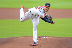 May 15, 2018 - Atlanta, GA, U.S. - ATLANTA, GA Ð MAY 15:  Braves starting pitcher Mike Foltynewicz (26) delivers a pitch to the plate during the game between Atlanta and Chicago on May 15th, 2018 at SunTrust Park in Atlanta, GA. The Chicago Cubs beat the Atlanta Braves by a score of 3 Ð 2.  (Photo by Rich von Biberstein/Icon Sportswire) (Credit Image: © Rich Von Biberstein/Icon SMI via ZUMA Press)