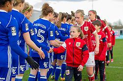 Bristol City Women and mascots pre-match - Mandatory by-line: Paul Knight/JMP - 28/03/2018 - FOOTBALL - Stoke Gifford Stadium - Bristol, England - Bristol City Women v Birmingham City Ladies - FA Women's Super League