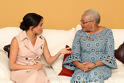 The Duchess of Sussex talks with Graca Machel, widow of the late Nelson Mandela, on the last day of their tour in Africa.