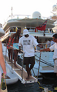 **EXCLUSIVE**.Sean P. Diddy Combs with Naomi Campbell & his Mom, Janice, exiting his Yacht at Gustavia Port.St. Barth, Caribbean.Monday, December, 29, 2003.Photo By Celebrityvibe.com/Photovibe.com...