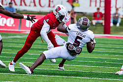 NORMAL, IL - October 02: Iverson Brown puts ball carrier Kevon Latulas on the turf during a college football game between the Bears of Missouri State and the ISU (Illinois State University) Redbirds on October 02 2021 at Hancock Stadium in Normal, IL. (Photo by Alan Look)