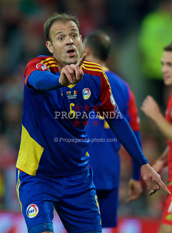 CARDIFF, WALES - Tuesday, October 13, 2015: Andorra's Ildefonso Lima Sola argues with the additional assistant referee during the UEFA Euro 2016 qualifying Group B match against Wales at the Cardiff City Stadium. (Pic by David Rawcliffe/Propaganda)