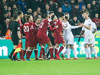 Football - 2017 / 2018 Premier League - Swansea City vs. Liverpool<br /> <br /> The teams scuffle after Swansea win, at The Liberty Stadium.<br /> <br /> COLORSPORT/WINSTON BYNORTH