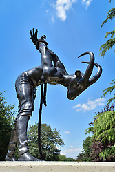 """© Licensed to London News Pictures. 05/07/2017. London, UK. """"Metamorphosis - a study in liberation"""", 2017, by Reza Aramesh.  The Frieze Sculpture festival opens to the public in Regent's Park.  Featuring outdoor works by leading artists from around the world the sculptures are on display from 5 July to 8 October 2017.  Photo credit : Stephen Chung/LNP"""