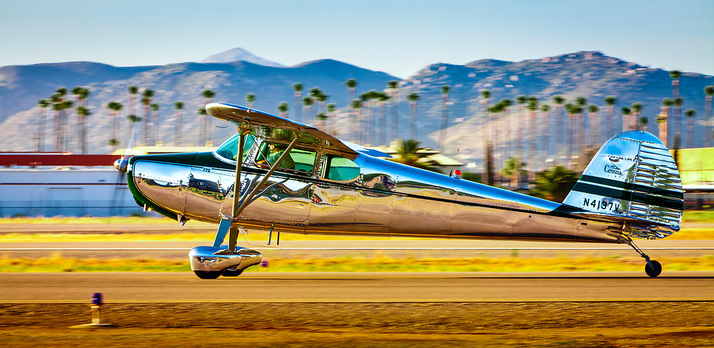 A Cessna 170 taxis by at Gillespie Field,  El Cajon, California.<br />