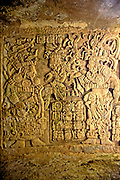MEXICO, TABASCO STATE, PRE-COLUMBIAN MAYAN Culture; Villahermosa Museum, Yaxchilan lintel depicting priests, late classic period 600-900 AD