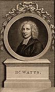 Isaac Watts (1674-1748) English hymn writer and non-conformist Christian minister, born at Southampton, Hampshire. 18th century engraving by Francesco Bartolozzi (1727-1815).