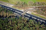 Nederland, Noord-Brabant, Halsteren, 04-03-2008; nieuwe A4 (vanaf Bergen op Zoom) door het bosgebied op de Brabantse Wal; de weg kent verschillende 'ecovoorzieningen' in verband met  de aanwezige flora en fauna, waaronder het ecoviaduct in de Schansbaan (makt migratie kleine dieren mogelijk). .luchtfoto (toeslag); aerial photo (additional fee required); .foto Siebe Swart / photo Siebe Swart