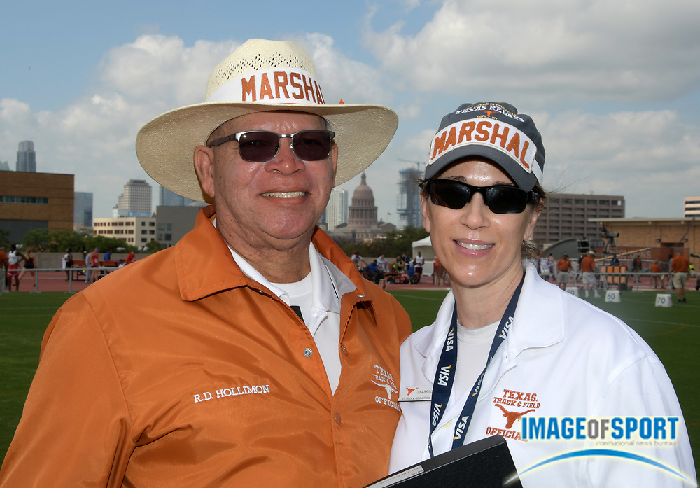 Mar 31, 2018; Austin, TX, USA; USA Track & Field officials R.D. Hollimon Sr. aka Randall Hollimon (left) and Gina Brunco pose during the 91st Clyde Littlefield Texas Relays at Mike A. Myers Stadium.