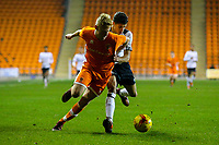 Blackpool's Owen Watkinson gets the better of Derby County's Callum Minkley<br /> <br /> Photographer Alex Dodd/CameraSport<br /> <br /> The FA Youth Cup Third Round - Blackpool U18 v Derby County U18 - Tuesday 4th December 2018 - Bloomfield Road - Blackpool<br />  <br /> World Copyright © 2018 CameraSport. All rights reserved. 43 Linden Ave. Countesthorpe. Leicester. England. LE8 5PG - Tel: +44 (0) 116 277 4147 - admin@camerasport.com - www.camerasport.com