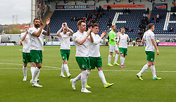 Hibernian's players at the end. <br /> Falkirk 0 v 3 Hibernian, Scottish Championship game played at The Falkirk Stadium 2/5/2015.