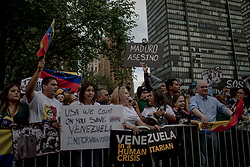 September 27, 2018 - New York, United States - People from Venezuela living in New York, held a protest in front of the UN Headquarter. September 27, 2018; New York. (Credit Image: © Turjoy Chowdhury/NurPhoto/ZUMA Press)