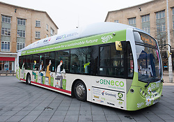 © London News Pictures. FILE PIC - 17/03/2015. Bristol, UK. The Number 2 powered by poo Bio-Bus, which is powered by biomethane gas from human and food waste. Plans for the fleet of bio-busses have been scrapped after the government turned down funding. Photo credit: Simon Chapman/LNP