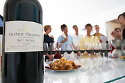 Tasting the vintage 2000 in the tasting room, a group of visiting people Chateau Paloumey Haut-Medoc Ludon Medoc Bordeaux Gironde Aquitaine France