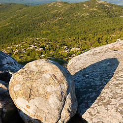 A boulder near the summit of Mount Monadnock in New Hampshire's Monadnock State Park.