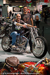 Christopher Marschka on his Patriot Special custom built on a Rick Bray Dropseat Frame from Wurttemberg, Germany on display in the AMD World Championship of Custom Bike Building in the custom themed Hall 10 at the Intermot Motorcycle Trade Fair. Cologne, Germany. Tuesday October 4, 2016. Photography ©2016 Michael Lichter.