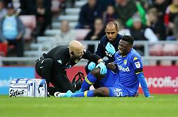 Leeds United's Caleb Ekuban injury during the Sky Bet Championship match at the Stadium of Light, Sunderland