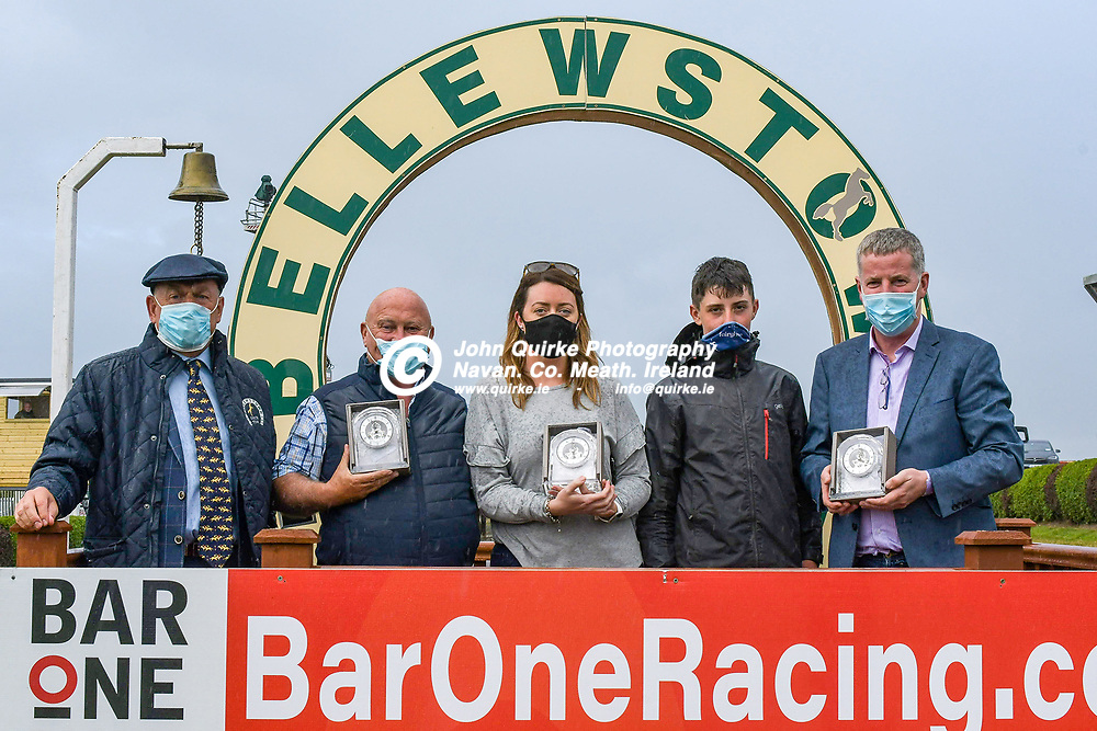 From left: Jack Gogarty, Bellewstown committee; Michael Mahon (owner of Let Her Flow); Debbie Smyth (wife of trainer Matthew Smith); James Smyth (son of trainer Matthew Smith) and Francy Fitzpatrick,  at Bellewstown Races.<br /> <br /> Photo: GERRY SHANAHAN-WWW.QUIRKE.IE<br /> <br /> 03-07-2021