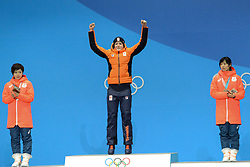 February 15, 2018 - Pyeongchang, South Korea - JORIEN TER MORS of the Netherlands celebrates getting the gold medal in the Ladies' 1000m speed skating event in the PyeongChang Olympic games. (Credit Image: © Christopher Levy via ZUMA Wire)