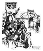 Apartheid. (Economic pressure is more effective than moral indignation)