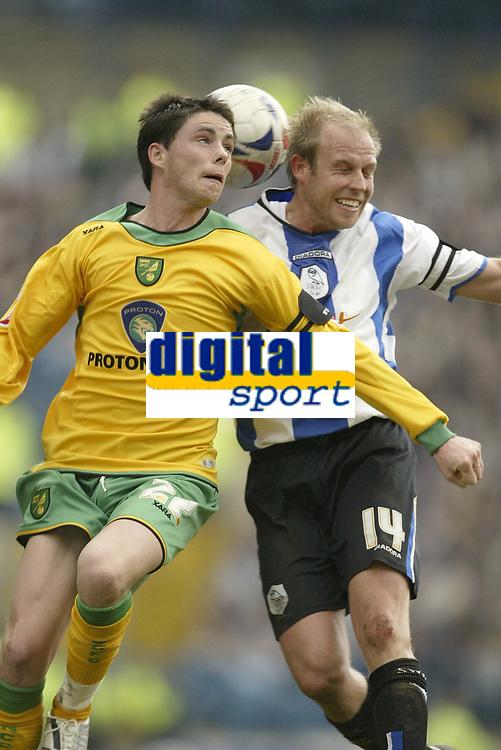 Photo: Aidan Ellis.<br /> Sheffield Wednesday v Norwich City. Coca Cola Championship. 15/04/2006.<br /> Norwich's Ian Henderson and Sheffield's John Hills