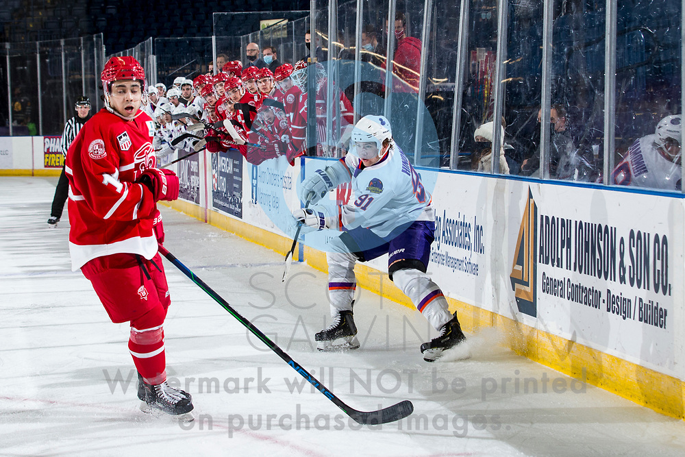 The Youngstown Phantoms defeat the Dubuque Fighting Saints 4-1 at the Covelli Centre on January 9, 2021.<br /> <br /> Grant Hindman, defenseman, 91
