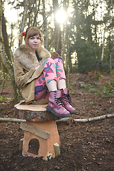 © Licensed to London News Pictures. 30/01/2016. Slough, UK. The formal opening of a wooden treehouse in memory of murder victim Alice Adams in Black Park, Wexham on Saturday 30th January. A good friends of Alice's Ruby Bird at the opening. The 20-year-old was stabbed to death in August 2011 with her friend and co-worker Tibor Vass, at a staff flat behind the Radisson Edwardian Hotel near Heathrow Airport. The murderer was Attila Ban, aged 32,  who also worked at the hotel as a receptionist. After the death of Alice, her family created a charity called, Alice Adams Foundation, to raise money to build the treehouse. Photo credit should read: Emma Sheppard/LNP