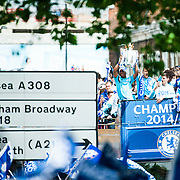 Didier Drogba holds the trophy aloft during the Chelsea Victory Parade at Eelbrook Common, London to celebrate the club winning the Premier League Title 2015.<br /> Picture by Jack Megaw/Focus Images Ltd +44 7481 764811<br /> 25/05/2015