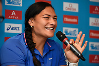 Valerie Adams of New Zealand answers questions during the Press Conference of the Diamond league, Meeting Areva 2015, at Mercure Paris Centre Eiffel, Paris, France, on July 3, 2015 - Photo Jean-Marie Hervio / KMSP / DPPI