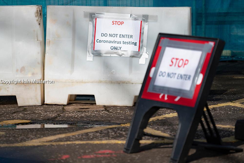 Edinburgh, Scotland, UK. 12 March, 2020. Signs for Coronavirus testing bay at NHS Lothian Western General Hospital in Edinburgh today. Iain Masterton/Alamy Live News