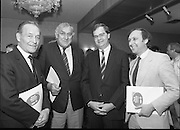 "Ford Siamsa Cois Laoi..1985..17.06.1985..06.17.1985..17th June 1985..At a press luncheon in Dublin, the names of the forthcoming artists for the Siamsa Cois Laoi music festival were announced. The artists include, Kris Kristofferson,Louden Wainwright III,.Stocktons Wing and The Wolfe Tones..The Ford sponsored festival takes place in Parc Ui Chaoimh,Cork City,on the 28th of July.This is the second year of a three year sponsorship deal.It is hoped that after the success of last years'event that this year will be bigger and better than ever..Mr Kieven,Chairman and M.D. of Ford Ireland stated ""The 1984 Ford Siamsa was Ford's first association with Ireland's Premier Folk Music Festival..Ford were very pleased with the outstanding success that was achieved and that the friendly co-operation of everyone involved helped to ensure a memorable day""...Image taken of Mr Con Murphy,.Chairman,Cork GAA County Board,Mr Donal O'Sullivan,Chairman,Parc Ui Chaoimh,Grounds Committee, Mr Hartmut Kieven,Chairman and Managing Director,Ford Ireland and Mr Frank Murphy,Secretary Cork County Board after the announcement of the headline acts at this years festival."