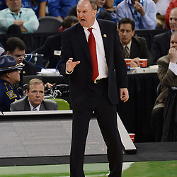 Mar 31, 2012; New Orleans, LA, USA; Ohio State Buckeyes head coach Thad Matta reacts against the Kansas Jayhawks during the first half in the semifinals of the 2012 NCAA men's basketball Final Four at the Mercedes-Benz Superdome. Mandatory Credit: Derick E. Hingle-US PRESSWIRE