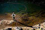 Mikey Wier, fishes his home waters along the Carson River outside of Lake Tahoe, California.