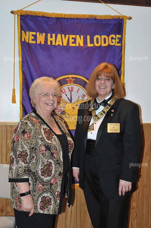 Bonnie Mullin and Mom. Both Exalted Rulers of Elks Lodges. At the Installation of Officers New Haven Elks Club Lodge # 25. April 9, 2011