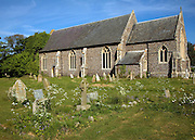 Church of St Andrew, Alderton, Sufolk, England - the ivy covered tower collapsed in the early nineteenth century.