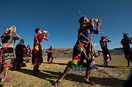 Inty Raymi. Third act. Archaeological site of Sachsayuaman. The pututu players during the last parade.