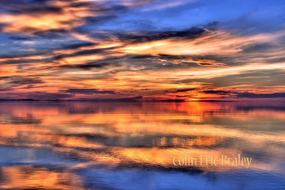 Sun set on the Great Salt Lake Utah-The colorful hues of a sun set are reflected off the Great Salt Lake in Utah, May 20, 2012. Colin E Braley (Wild West Art & Media)