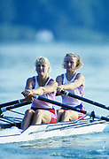Banyoles, SPAIN, GBR W2X Bow, Annabel EYRES and Stroke Alison GILL, competing in the 1992 Olympic Regatta, Lake Banyoles, Barcelona, SPAIN. 92 Gold Medalist.   [Mandatory Credit: Peter Spurrier: Intersport Images]